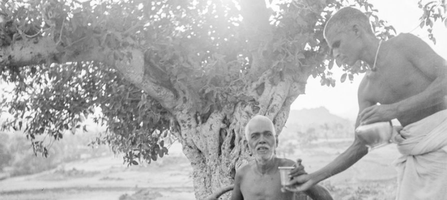 Bhagavan being given water by Madhava Swami on the lower slopes of Arunachala