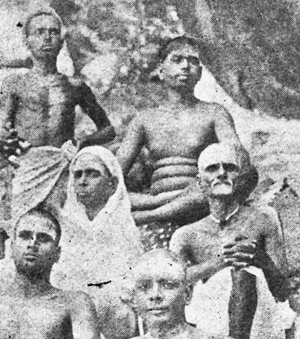 Bhagavan (top right) and Sivaprakasam Pillai (bottom right) outside Virupaksha Cave