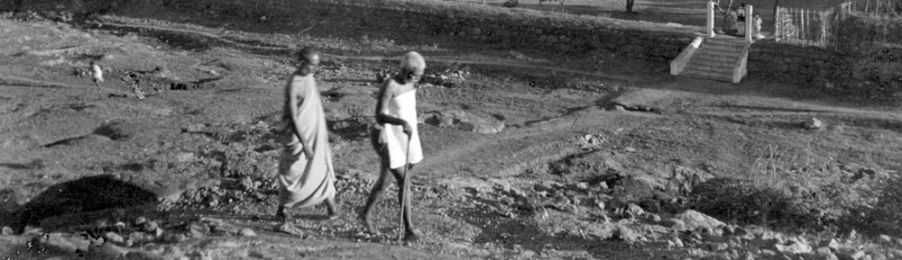 Bhagavan walking on the hill with Yogi Ramaiah