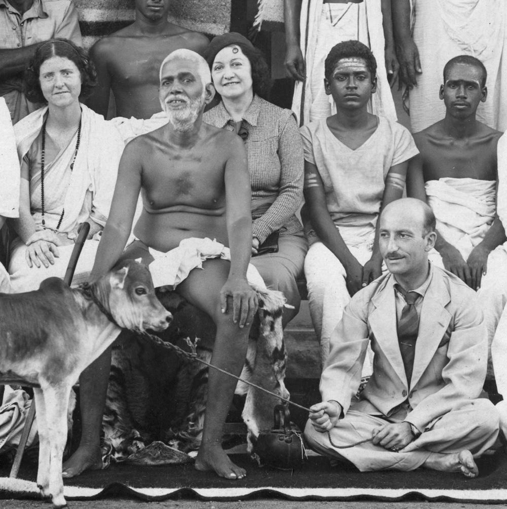 Paul Brunton sitting with Bhagavan around 1930