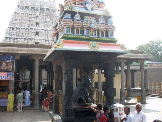 A Nandi in the Arunachaleswara Temple built by King Vallalan. The relatives are in a line behind the pointing woman.