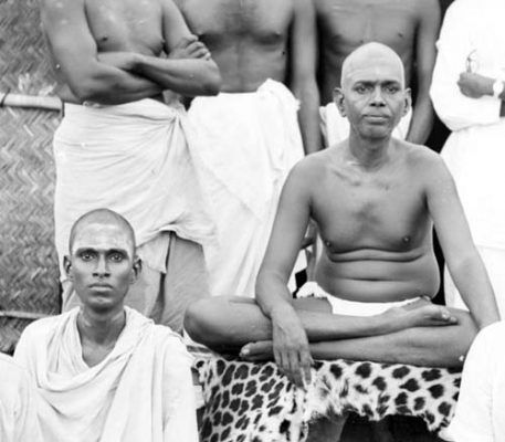 Viswanatha Swami sitting with Bhagavan in the 1920s
