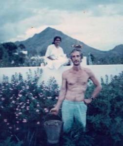 with Saradamma in her garden