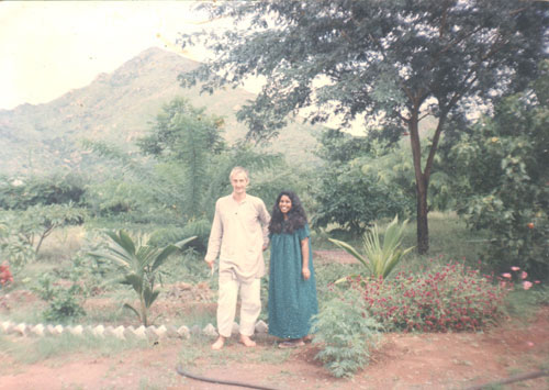 With Saradamma in her garden, early 1990s