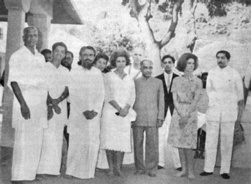 Members of the Greek Royal family at Ramanasramam with T. M. P. Mahadevan and the ashram president.