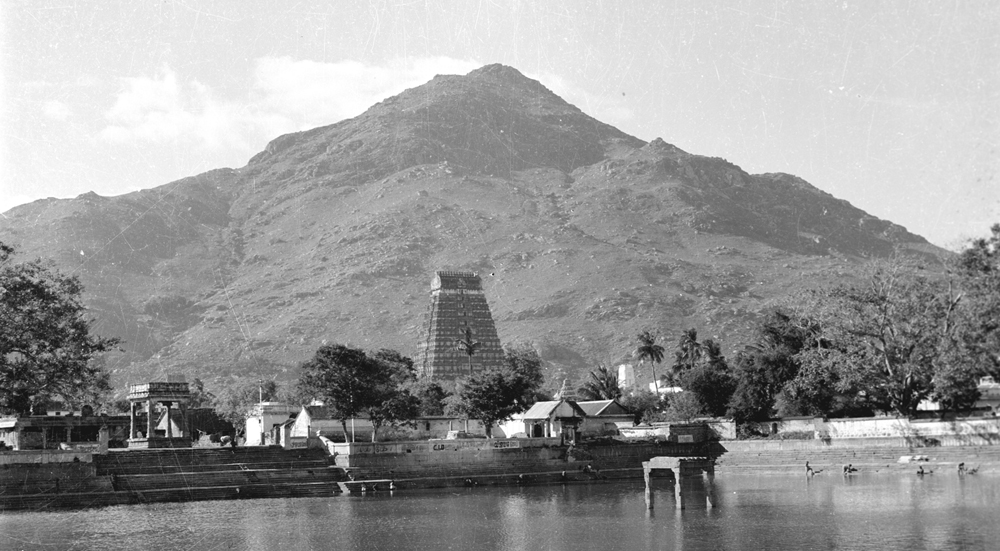 Arunachala and its temple taken across Ayunkalam Tirtham