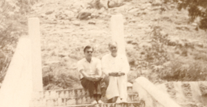 Papaji, sitting at the back of Ramanasramam in 1981
