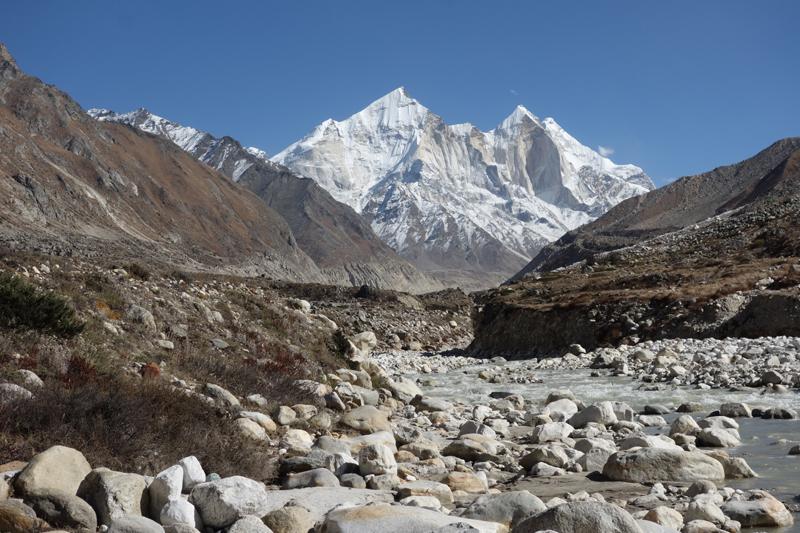 The River Ganga with the Bhagirati peak in the background
