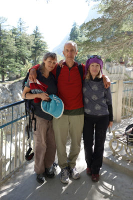 David Godman with his sister Geraldine Westrupp and my wife Miri Albahari on a bridge in Gangotri